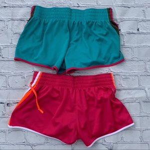 Nike Dri-fit running shorts lot, pink and aqua Lg